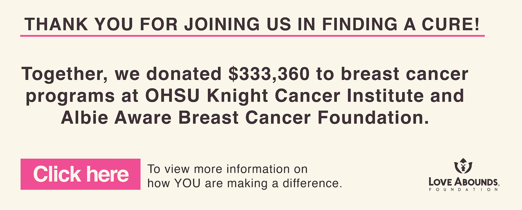 Thank you for joining us in finding a cure! Together, we donated $333,360 to breast cancer programs at OHSU Knight Cancer Institute and Albie Aware Breast Cancer Foundation. Click here to view more information on how you are making a difference.